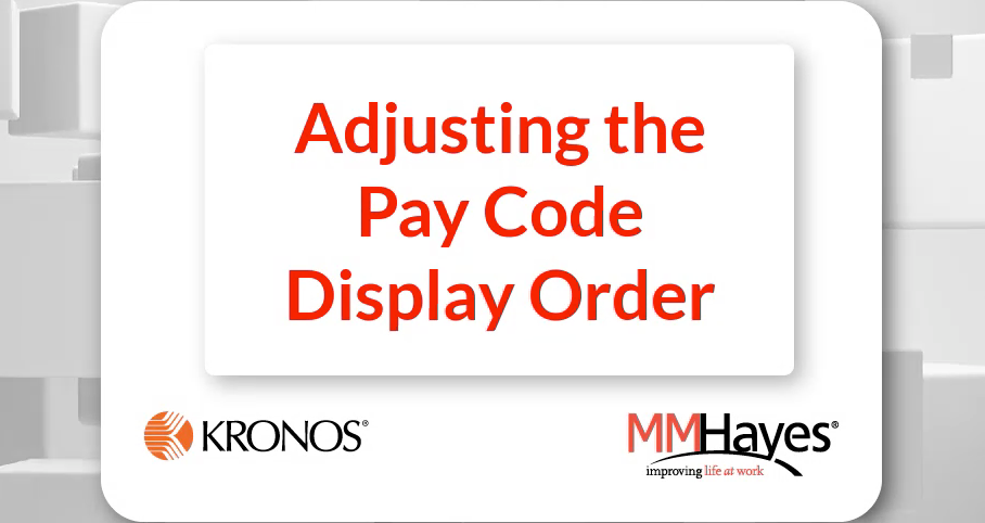 Adjust the Pay Code Display Order